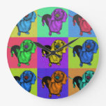 Pop Art Dachsund Doxie Panels Multi-Color Popart Round Wall Clocks