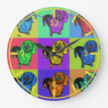 Pop Art Dachsund Doxie Panels Multi-Color Popart Round Wall Clock