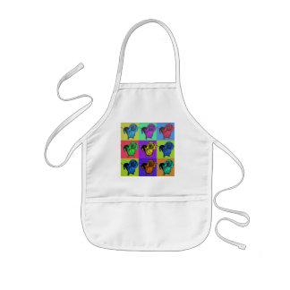 Pop Art Dachsund Doxie Panels Multi-Color Popart Kids' Apron