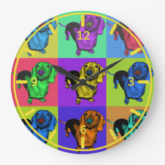 Pop Art Dachsund Doxie Panels Multi-Color Popart Large Clock