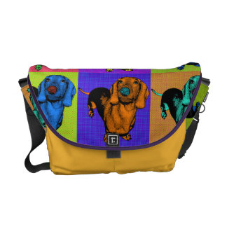 Pop Art Dachsund Doxie Panels Multi-Color Popart Courier Bags
