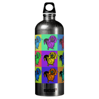 Pop Art Dachsund Doxie Panels Multi-Color Popart Water Bottle