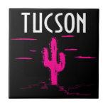 Pop-art Desert AZ Pink Saguaro Cactus Accent Tile