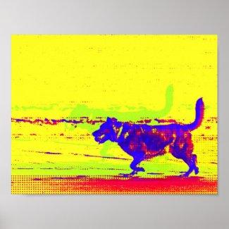 Pop Art Dog on Beach Poster