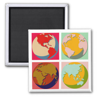 Pop Art Earth 2 Inch Square Magnet