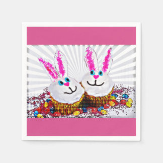 Pop Art Easter Bunny Cupcakes Paper Napkin