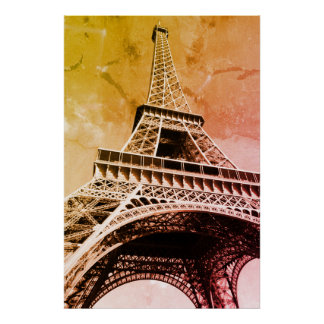 Pop Art Eiffel Tower Paris Romance City Poster