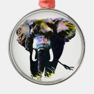 Pop Art Elephant Metal Ornament