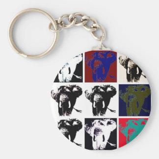 Pop Art Elephants Basic Round Button Keychain