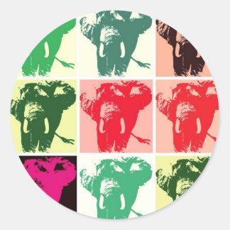 Pop Art Elephants Classic Round Sticker