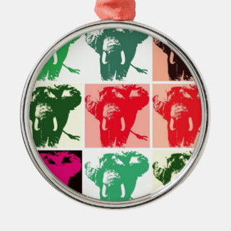 Pop Art Elephants Metal Ornament