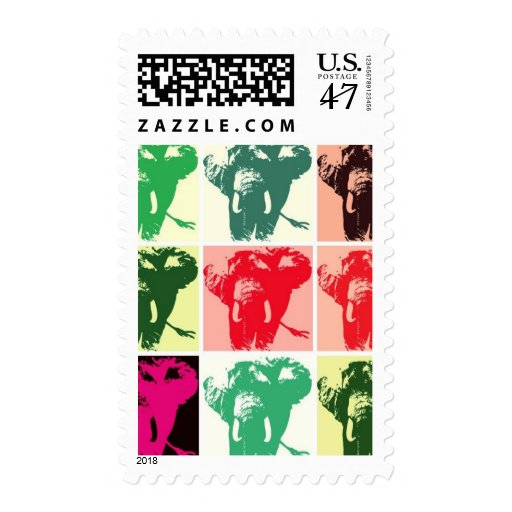 Pop Art Elephants Postage Stamps