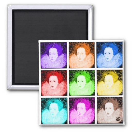 Pop Art Elizabeth I 2 Inch Square Magnet