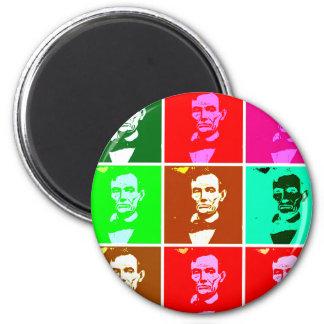 Pop Art .esque Abraham Lincoln 2 Inch Round Magnet