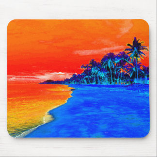 Pop Art Exotic Beach Palm Trees Mouse Pad