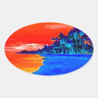 Pop Art Exotic Beach Palm Trees Oval Sticker