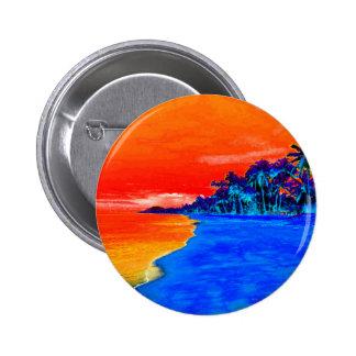 Pop Art Exotic Beach Palm Trees Pinback Button