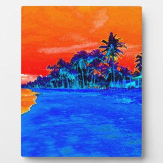 Pop Art Exotic Beach Palm Trees Plaque