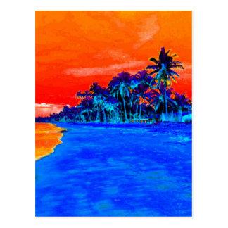 Pop Art Exotic Beach Palm Trees Postcard