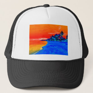 Pop Art Exotic Beach Palm Trees Trucker Hat
