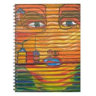 Pop Art face Blue Lips Big Eyes unique Spiral Notebooks