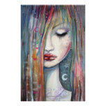 Pop Art Fantasy Woman Asleep Print