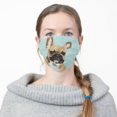 Pop Art Fawn French Bulldog Cloth Face Mask