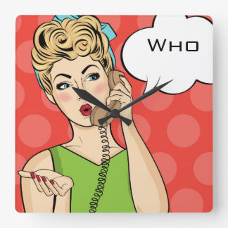 Pop Art Female Square Wall Clock