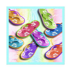 Pop Art FLIP FLOPS Gallery Wrapped Canvas wrappedcanvas