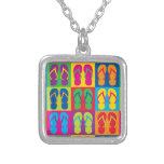 Pop Art Flip Flops Square Pendant Necklace