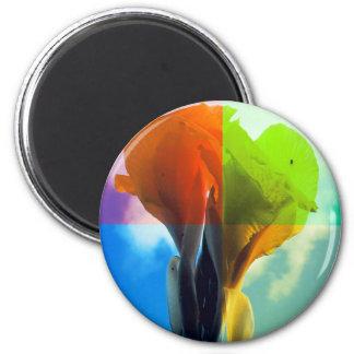 Pop art Flower in different color quads retro look 2 Inch Round Magnet