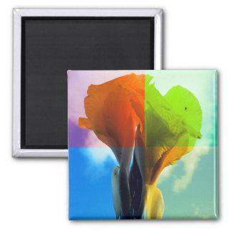 Pop art Flower in different color quads retro look 2 Inch Square Magnet