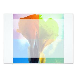 Pop art Flower in different color quads retro look 5x7 Paper Invitation Card