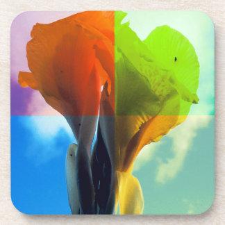 Pop art Flower in different color quads retro look Beverage Coasters