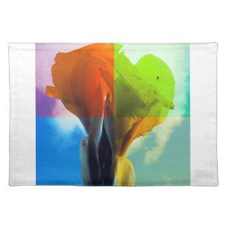 Pop art Flower in different color quads retro look Cloth Placemat