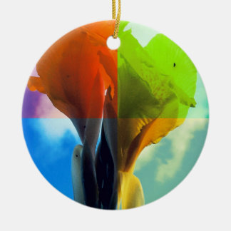 Pop art Flower in different color quads retro look Double-Sided Ceramic Round Christmas Ornament