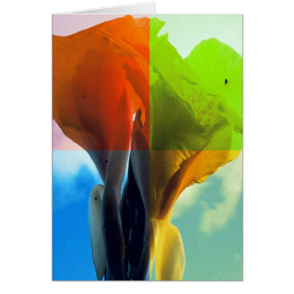 Pop art Flower in different color quads retro look Greeting Card