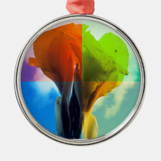 Pop art Flower in different color quads retro look Round Metal Christmas Ornament