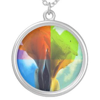 Pop art Flower in different color quads retro look Round Pendant Necklace