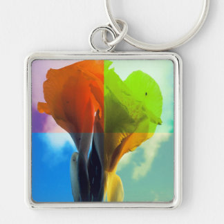 Pop art Flower in different color quads retro look Silver-Colored Square Keychain