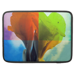 Pop art Flower in different color quads retro look Sleeve For MacBook Pro