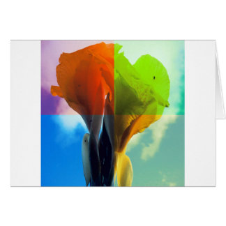 Pop art Flower in different color quads retro look Stationery Note Card