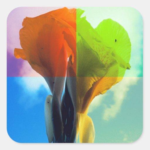 Pop art Flower in different color quads retro look Square Sticker