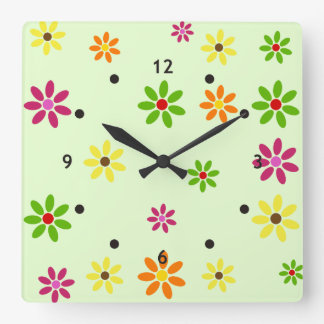 Pop Art Flowers seamless pattern + your ideas Square Wall Clock
