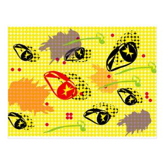 Pop art flowers seeds postcard