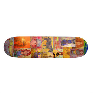 pop art folks collage skate board deck