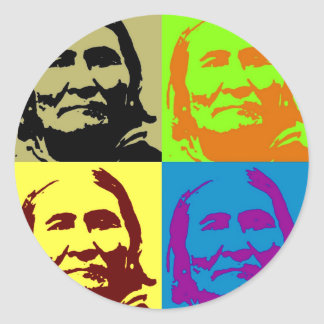 Pop Art Freedom Fighter Geronimo Classic Round Sticker