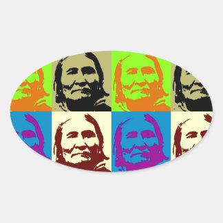Pop Art Freedom Fighter Geronimo Oval Sticker