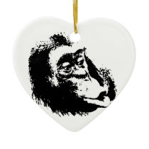 Pop Art Funny Chimpanzee Ceramic Ornament