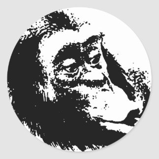 Pop Art Funny Chimpanzee Classic Round Sticker